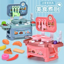 blue toy kitchen NZ - Simulation Kids Kitchen Set Pretend Play Toys Diy Cooking toys Educational Play Toys Cooking Tools For Baby And Girls Gift 02