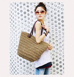 wholesale straw ladies handbags Australia - Bohemian Women Straw Beach Bags Large Ladies Handbags Summer Rattan Bag Wicker Woven Handmade Female Travel Purses Casual Totes 4bf9#