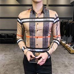Wholesale Streetwear Social Blouse Camisa Masculina 2020 Spring Korean Designer Casual Men Shirt Long Sleeve Slim Fit Mens Dress Shirts