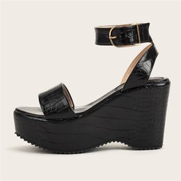 strap sliders UK - 2020Beach Casual Wedge Sandals Slingback Straps Summer Ladies Peep Toe Platform Sliders Shoes size 36-43
