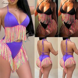 fringed swimsuits Australia - Bikinis Women Swimwear High Waist Swimsuit Spaghetti Strap Tassel Letter Fringed Two Piece Suits Bathing Suit Plus Size Swimwear