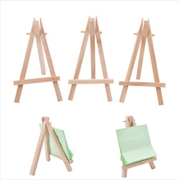 mini easel wedding UK - 8x15cm Natural Wooden Mini Tripod Easel Mini Wedding Decoration Painting Small Holder Menu Board Accessoriy Stand Display Holders LJJP121