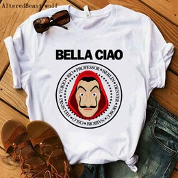 women la shirt UK - La Casa De Papel Bella Ciao T Shirt Women Money Heist The House Of Paper Shirt Women Vogue T-Shirt 2020 Short Sleeve Summer