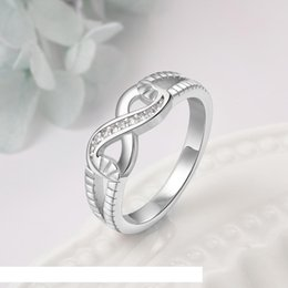 ladies infinity ring UK - #RI101804 Jewelry Rings for Women Govemment Certificate, 925 Sterling silver Endless Love S925 Stamped Lady Infinity Ring