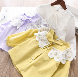 Wholesale girls white blouse lace resale online - Girls lace hollow embroidery petals lapel shirts fall new chilren Bows long sleeve shirt kids cotton princess tops A3596