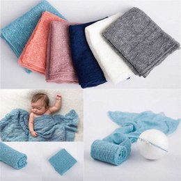 newborn knit patterns UK - Newborn Baby Photography Props,Knit Fabric Hollow Out Lovely Pattern Swaddle Blanket For Baby Photo Props 136x41cm 22LV#
