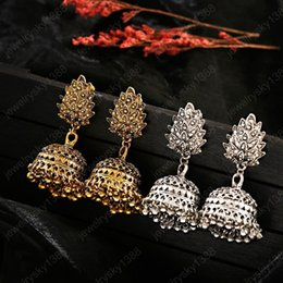 wholesale indian bells UK - Boho Afghan Ethnic Drop Earrings For Women Pendient Gold Gyspy Silver Color Bell Ladies Indian Earring Jewelry