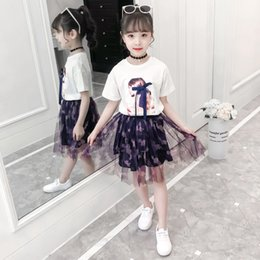 boutique girl summer outfit NZ - Girls Clothing Sets Summer Clothes For Girl T-Shirt+Skirts 2PCS Kids Boutique Outfits Children Clothing Set 4 6 8 10 12 13 Years