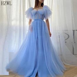 evening gown belt sashes Australia - Baby Lue Pleated A-Line Tulle Evening Dresses vestido 2020 Short Puff Sleeves Ribbon Belt Long Prom Gown