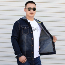 Wholesale mens denim hoodie resale online - Denim Jacket Men Bomber Jeans Hoody Plus Size XL XL XL XL XL Hoodie Oversize Coats Mens Jean Dark Blue Hooded Men s Jackets