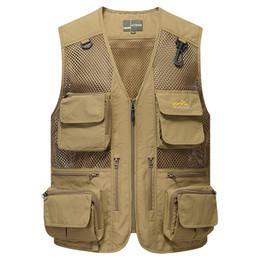 Wholesale travel jacket pockets for sale – winter ishing Vest Men Multi Pockets Photographer Waistcoat Travel Sleeveless Jackets with Many Pockets Mesh Breathable Detachable F