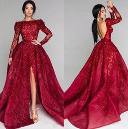 sequin sparkly UK - Sparkly Long Sleeves Sequins Lace Evening Dresses Party Wear Backless Sweep Train Red Carpet Prom Gowns Plus Size Vestidos De Fiesta