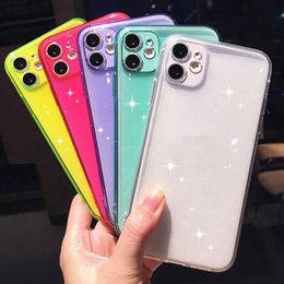 wholesale lens for iphone NZ - Fine hole Fully protected lens Phone Case For iPhone 11 Pro Max XR X XS 7 8 Plus Neon Fluorescent Color Soft Back Cover wholesale