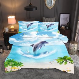 high quality textiles NZ - Home Textile 3pc Set Beach Ocean Dolphin Scenery 1PCQuilt Cover 2PC Pillowcase Hot Sale High Quality