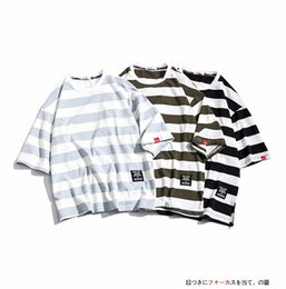 long oversized t shirt mens Canada - Mens Fashion T Shirts Cotton Striped Loose Tees Summer Japanese Casual Streetwear Fitness Tees Oversized Male Tops u0E2#