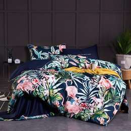 egyptian cotton duvet set red NZ - Chinoiserie style Birds Leaves printed Egyptian cotton Soft Duvet Cover Bed sheet Fitted sheet set King Queen Size Bedding Set