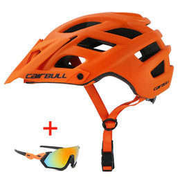 orange helmets Australia - Bicycle Helmet with Sunglasses Integrally-molded Road Bike MTB Helmet Men Women Outdoor Sports Riding Racing Cycling Helmet T200730