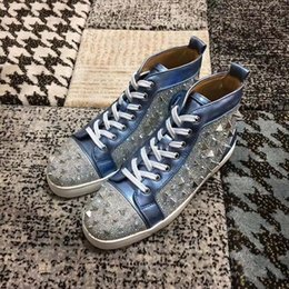 leopard print shoes high tops UK - Casual platform shoes High-end custom metal studded spikes casual shoes red bottoms for men high top sneakers genuine leather za7