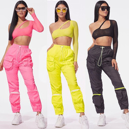 Wholesale sexy big pants for sale - Group buy Gauze Strapless Sexy Womens Hollow Out Sexy Cargo Pants Big Pocket Summer High Street Women Two Piece Sets