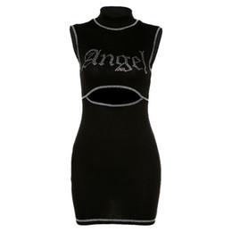 Wholesale cut out casual short dresses resale online – Gothic Short Black Dress Club Cut Out Crack Letter Printed Women Dress Cotton Sexy Summer Mini Bodycon Casual High Waist