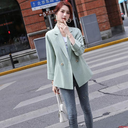 green womens blazers NZ - New 2020 Autumn And Winter Light Green Female Solid Blazer Casual Suit Womens Double Button Jacket and Tops Coat Ladies Clothes