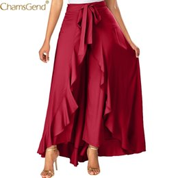 skirts zipper front UK - Summer Skirts Womens Plus Size Ruffle Grey Side Zipper Tie Front Overlay Pants Beach Summer Skirts Womens Long Maxi Skirt May T200712