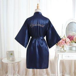 Wholesale rayon work dresses resale online – Sexy Yukata Night Robe Short Satin Wedding Bride Bridesmaid Robes With Clear Rhinestones Bride Bridesmaid Edition Dressing Gown