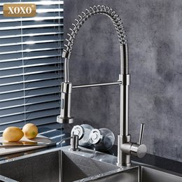 pull out spring faucet Canada - XOXO Spring Style Kitchen Faucet head mixer cold and hot Brushed Nickel Faucet Pull Out sprayer mixer tap 1343 T200710
