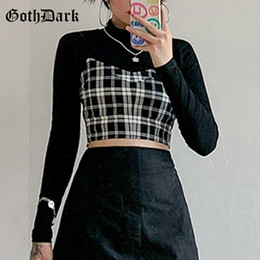 women gothic t shirts Australia - Goth Dark Gothic Two Pieces Sets Skinny Black Turtleneck Long Sleeve Women Crop Tops T-shirts With Plaid Camisole Streetwear T200729