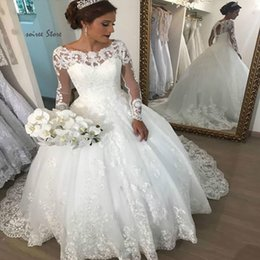 cowls robe UK - Vintage Ball Gown Lace Wedding Dresses Princess Long Sleeve Country Wedding Dress Sexy Backless Bohemain Bridal Gowns 2020 robes de mariée