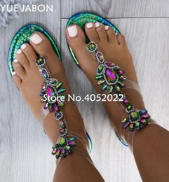 rhinestone gladiator flip flop NZ - 2018 New Woman Sandals Women Rhinestones Chains Flat Sandals Plus Size Thong Crystal Flip Flops Gladiator 8svF#