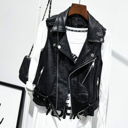 sleeveless motorcycle jacket NZ - Big Size 4xl Fashion Ladies Leather Jackets Sleeveless Black Vest Coat 2020 New Spring Autumn Pu Motorcycle Woman Casual Jacket