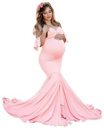 maternity props NZ - Pregnant Women Photography Props Dresses Off Shoulde premama Dress Maternity Clothings maternity Ruffle sleeves V-neck dresses