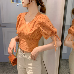 Wholesale orange womens blouse for sale - Group buy Womens Blouse Summer Puff Sleeve Bow Lace Hollow Crochet Short Design Vintage V Neck Chic Korean Shirt Top Orange White