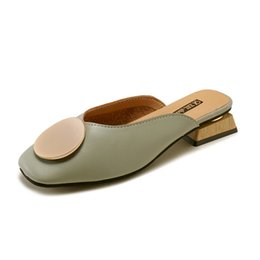 green head tie UK - Genuine Leather Casual Shoes Women Square Head Slip-on British Wooden Block Low Heel Pumps Sandals Fashion Summer Footwear