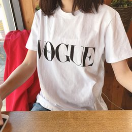 Wholesale female clothing online – 2020 New Summer Tops Fashion Clothes for Women VOGUE Letter Printed Harajuku T Shirt Red Black Female T shirt Camisas Tees Ladies Tshirt