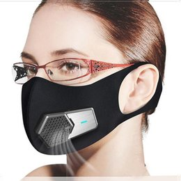 Wholesale Smart Electric Fan Masks PM2.5 Dustproof Mask Anti-Pollution Pollen allergy Breathable Face Protective Cover 4 Layers Protect