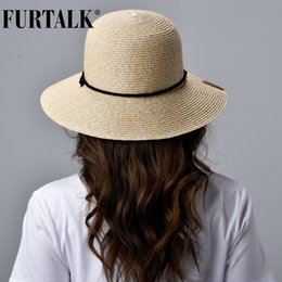 wind straw NZ - FURTALK Straw Summer Hat Women Sun Hat with Wind Lanyard Wide Brim UPF 50+ un Protection Beach Hat Foldable Female Summer Caps CX200715