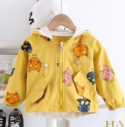 yellow children jackets NZ - Korean spring and autumn children 0-4 years old cute loose cartoon hooded windbreaker jacket single piece foreign trade trend