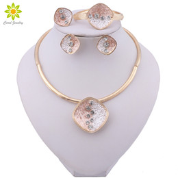 bridal jewelry ring set Australia - Fashion Dubai Jewelry Sets Gold Plated Wedding Necklace Earrings Bracelet Ring Set for Women Bridal Party Costume Accessories