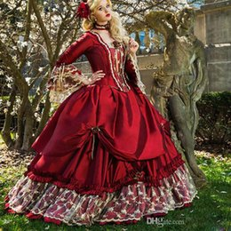 royal blue victorian ball dress Canada - Princess Medieval Fantasy Quinceanera Dresses Victorian Halloween masquerade Prom Dress Ball Gown Queen Puffy Red Sweet 16 Dress