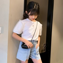 hot pants korean style summer Canada - HqUob Wear girls' Children's hot Shorts hot pants 2020 Summer new medium and large Children Korean style denim shorts children's thin pants