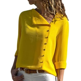 womens office blouse 2021 - Summer Fashion Button Long Sleeve Yellow White Shirt Womens Tops And Blouses Female Tunic Office Chemise Rk