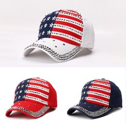 baseball bling hat wholesale Canada - Fashion Rivet Baseball Cap Trump 2020 President Election Hat Rivet Diamond Bling Sport Ball Cap Snapback Cap America Flag Sun Hat VT0633