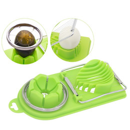 slicers home NZ - Creative Egg Slicer Cooking Tools 2 in1 Cut Multifunction Kitchen Egg Slicer Sectione Cutter Mold Flower Edges Gadgets Home Tool YDL043