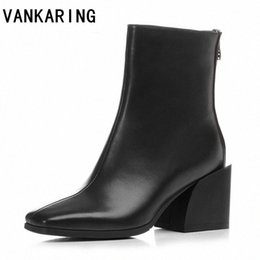 design genuine leather NZ - design genuine leather zipper ankle boots for women high heels fashion square toe ladies dress shoes big size sexy pumps rTVN#