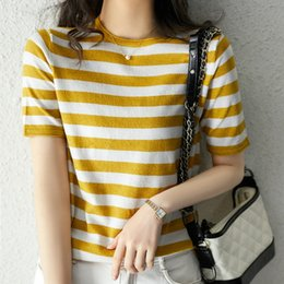Wholesale soul t shirt online – design LQc1p Women s summer new striped curling T shirt thin top base Sea soul style gold and silver Top t shirt sweater silk short sleeve ice silk