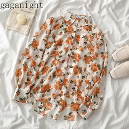 shirt korean designs UK - Gaganight Korean Ins Turn Down Collar Long Sleeve Print Blouse Women Single Breast Design Loose Blusas Spring 2020 Chiffon Shirt 2UGO#