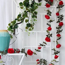 wholesale artificial rose leaf Canada - 2M Artificial Red Rose Flower Ivy Vine Wedding Decor Real Touch Silk Flowers String With Leaves for Home Hanging Garland Decor L19L#