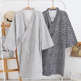 bathrobe men UK - Men Fashion Printing Kimono Robe Sleepwear Nightgown Loose Mid Length Bathrobe Nightgown for Men Casual Home Wear